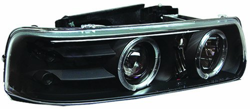 IPCW CWS-3039B2 Projector Headlight with Rings and Black Housing - Pair