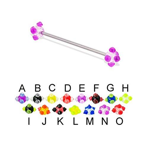 (MsPiercing Long Barbell (Industrial Barbell) With Acrylic Viking Balls, 14 Ga, 1 1/4