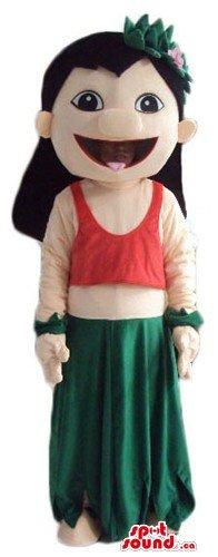 Lilo Stitches hula dancer girl cartoon character SpotSound Mascot US costume