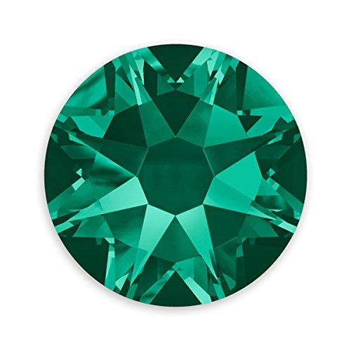 (Swarovski Crystal Flat Back Rhinestones (Glue-on) 2088 7mm (SS34) Emerald Flat Back (Pack of)