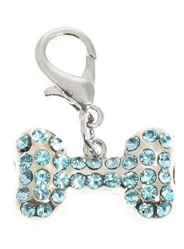 UrbanPup Swarovski Bone Dog Collar Charm (Aquamarine Crystals)