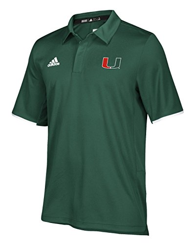 adidas Miami Hurricanes NCAA 2018 Sideline Team Iconic Polo Shirt - Green (Adidas Polo Shirt Sideline)