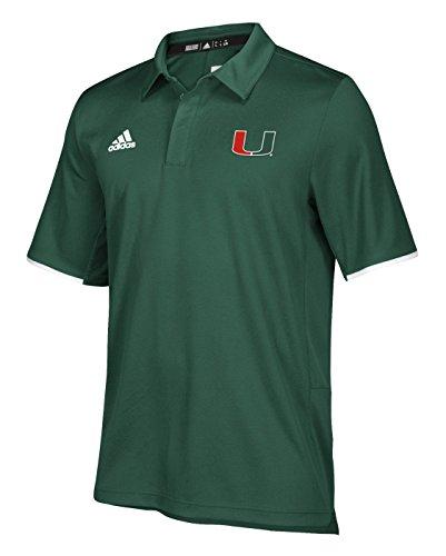 adidas Miami Hurricanes NCAA 2018 Sideline Team Iconic Polo Shirt - Green (Sideline Polo Shirt Adidas)
