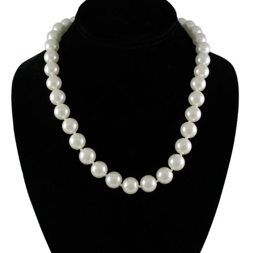 Cream White 12mm Simulated Faux Pearl Necklace Hand Knotted Strand 18