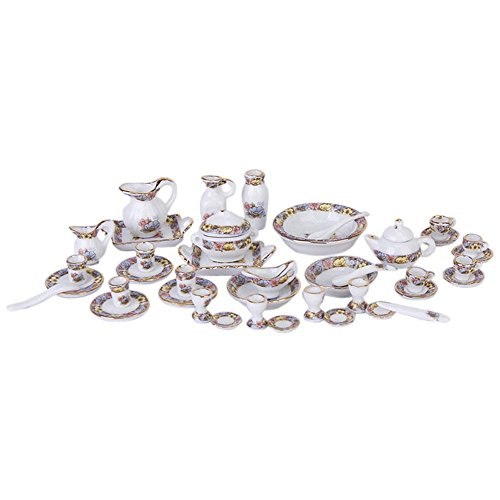 ZEROYOYO 40 Pcs 1/12 Dollhouse Miniature Accessories Dining Elegance Tableware Porcelain Tea Set Colorful Floral Print