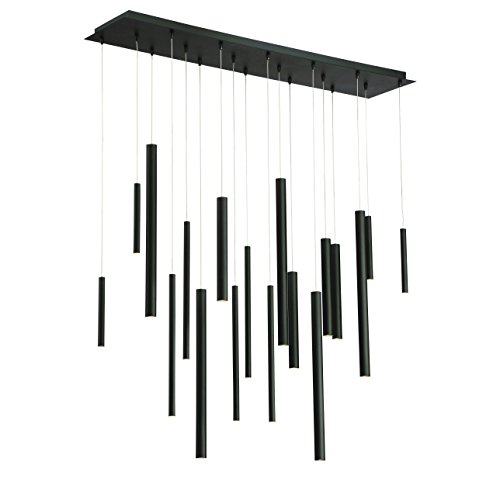 Eurofase Lighting Contemporary Chandelier - Eurofase Santana Clustered Tubes 18 LED Linear Chandelier, Matte Black Finish, 42 Inches Long-Model 31446-013, Frosted