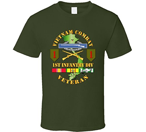 XLARGE - Army - Vietnam Combat Infantry Veteran W 1st Inf Div Ssi V1 T-shirt - Military Green