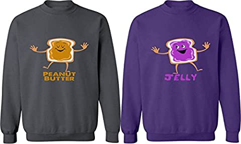Peanut Butter & Jelly - Matching Couple Sweatshirts - His and Her Sweaters (Hers And His Crewneck)