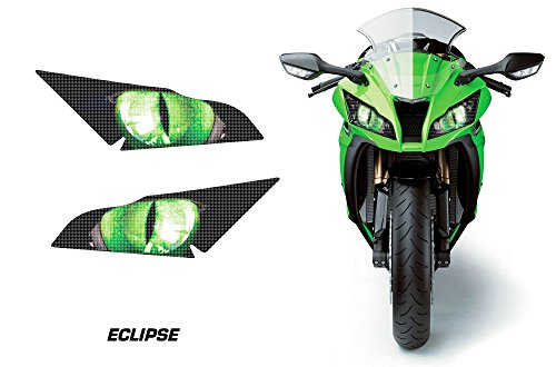 (AMR Racing Sport Bike Headlight Eye Graphic Decal Cover for Kawasaki Ninja ZX 10R 11-14 - Eclipse Green)