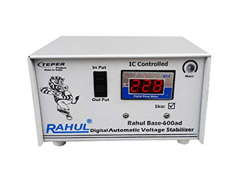"""Rahul Base-600ad 600VA 140-280 Volt,3 Booster 1 LCD/LED TV,Smart TV, Android TV Up to 65""""+dth/Refrigerator Up to 195 LTR,Use a Maximum of 2 Amp Load This Automatic Digital Voltage Stabilizer 2021 July 2 Amp/600 VA Digital Automatic 3 Booster Stabilizer Input Power (V)-140-280 Volt"""
