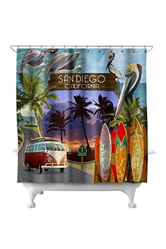 Lantern Press San Diego, California - Montage 81778 (74x74 Polyester Shower Curtain) (Barrel San & Crate Diego)