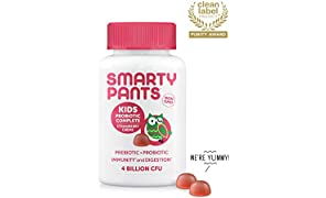SmartyPants Kids Probiotic Complete Daily Gummy Supplement; Probiotics & Prebiotics; Gluten Free, Digestive & Immune Support*; 4 billion CFU, Vegan, Non-GMO, Stawberry Crème, 60 Count (30 Day Supply)