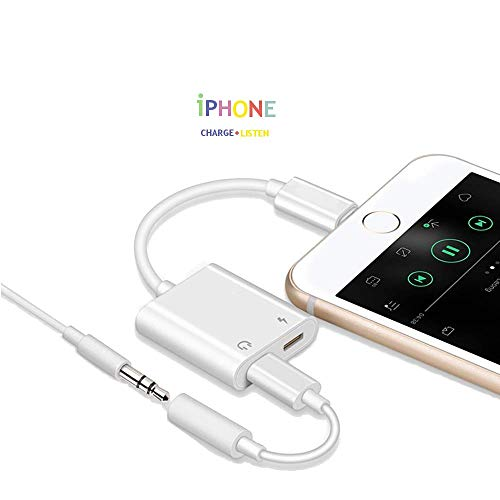 (iPhone Adapter 2 in 1 for Headphones and Charger, iPhone X/8/7, iPhone Plus, Aux and Charger for iPhone, Splitter iOS 11 Compatible + Car Aux Use - White Charger and Headphone Long Lasting Piece by DS)
