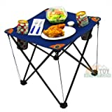 EZ Travel Collection Folding Camping Table Folding Table with Drink Holders and Carry Bag (Blue)