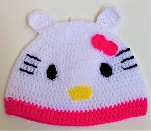 Cute Hello Kitty Girls Hat Crocheted Adorable Hello Ketty Stuff Kids Daughter -