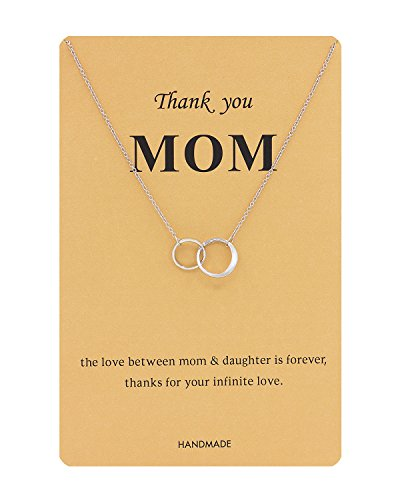Gudukt Two-Circles Necklace Infinity Double Link Necklace with Message Card Silver for (Interlocking Link Necklace)