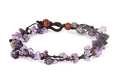 MGD, Purple Amethyst Color Bead Anklet. Beautiful 26 Centimeters Handmade Stone Anklet Made from wax cord. Fashion Jewelry for Women, Teens and Girls., JB-0127A