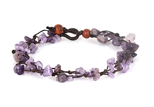 MGD, Purple Amethyst Color Bead Anklet. Beautiful 26 Centimeters Handmade Stone Anklet Made from wax cord. Fashion Jewelry for Women, Teens and Girls….