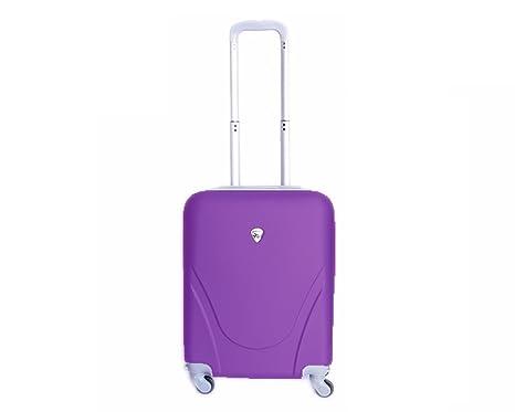 Maleta pequeña para cabina rígida 4 ruedas 360º gira equipaje de mano Low cost (Morado