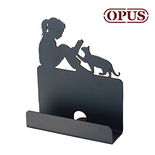 Business Card Holders - Reading Girl & Cat Shape - Black