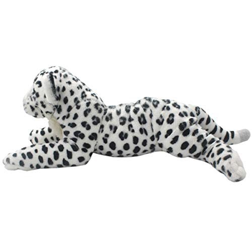 DishyKooker Realistic Stuffed Animals Lion Tiger Leopard Panther Cheetah Plush Toys Lioness for Children's Birthday Gifts White Leopard