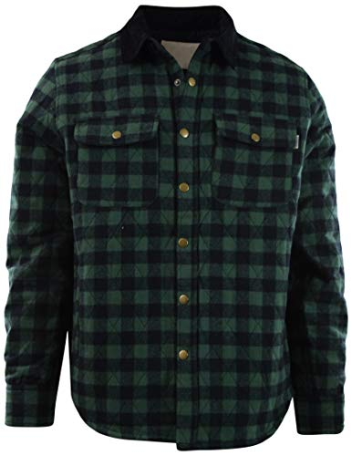 (Mens Premium Button Down Flannel Long Sleeve Shirt (Many Patterns and Styles to Choose from) (L, 1622-Green Buffalo))