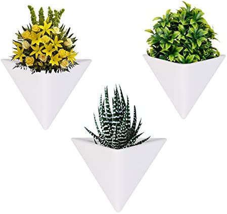 LANMU Hanging Container,Handcrafted Wall Vases,Geometric Wall Decor,Wall Vase Hanging,Plant Holder for Air Plants Succulent Plants Artificial Flowers Mini Cactus Geometric Plants 3 Pack