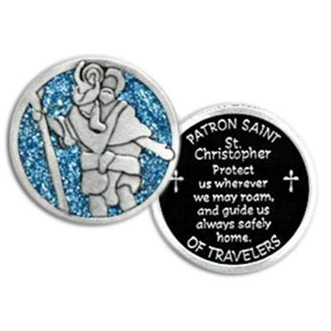 CA - St Christopher - Patron Saint of Travelers - Pocket Token in White Organza Gift Bag Pouch 1.25