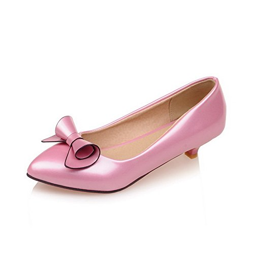 BalaMasa Ladies Flowers Pointed-Toe Low-Cut Uppers Urethane Pumps Shoes Pink vj0HL