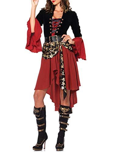 XXXITICAT Women's Halloween Gothic Caribbean Pirate Cosplay Costume