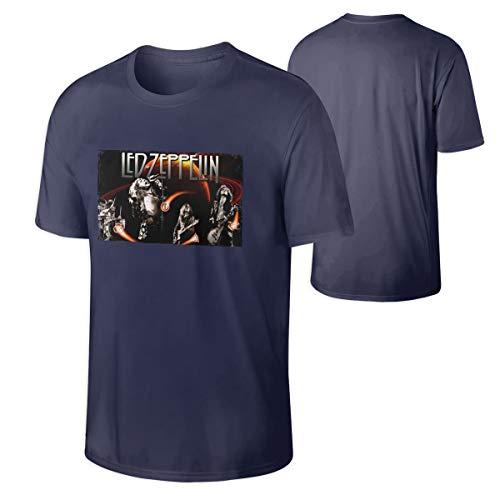 Man Led Zeppelin Vintage Tees Music Band T Shirt Navy (Vintage Led Zeppelin Band)
