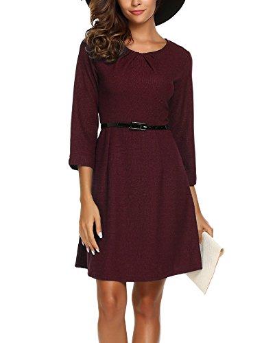 Zeagoo Damen Herbst Winter Langram Vintage kleid Elegant Business Kleid 3/4 Arm Rundhals mit Gürtel Wine Rot