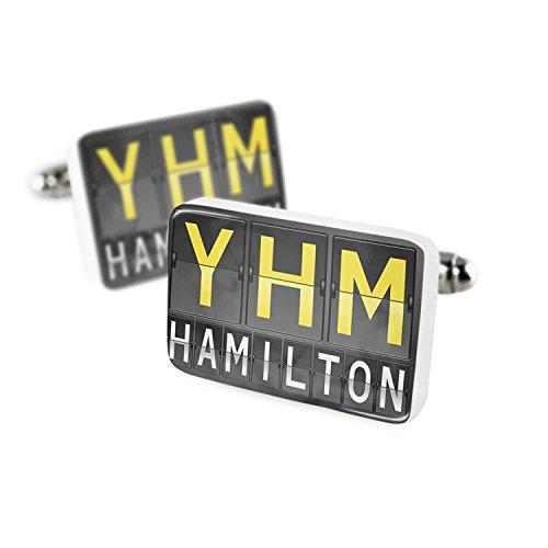 (Cufflinks YHM Airport Code for Hamilton Porcelain Ceramic NEONBLOND)