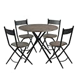 Set of 4 Wooden Folding Chairs HomyCasa 5 Pieces Dining Table Set,Industrial Round Kithcen Table with 4 Folding Chairs,Wooden Top with Metal Legs,Walnut