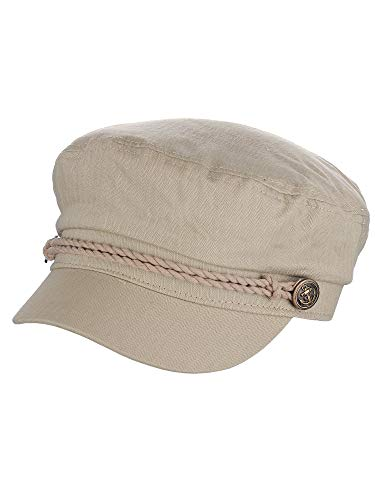 NYFASHION101 Unisex 100% Cotton Greek Fisherman Sailor Fiddler Driver Cap Hat, Stone