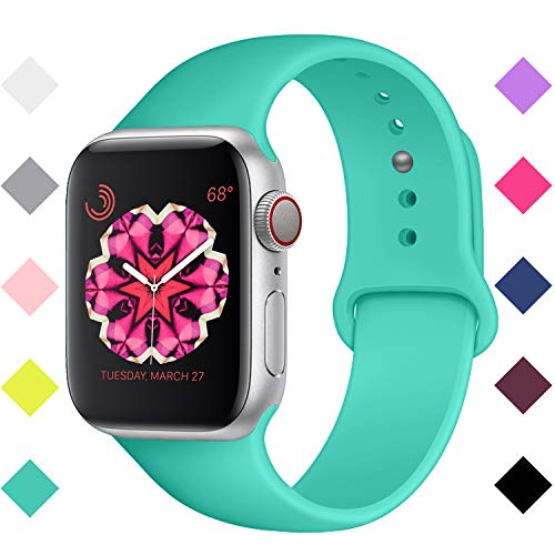 Booyi Sport Band Compatible with for Apple Watch Bands 38mm 42mm 40mm 44mm, Soft Silicone Replacement Compatible with for iWatch Series 1 2 3 4 (Compatible Pack Multi Color)