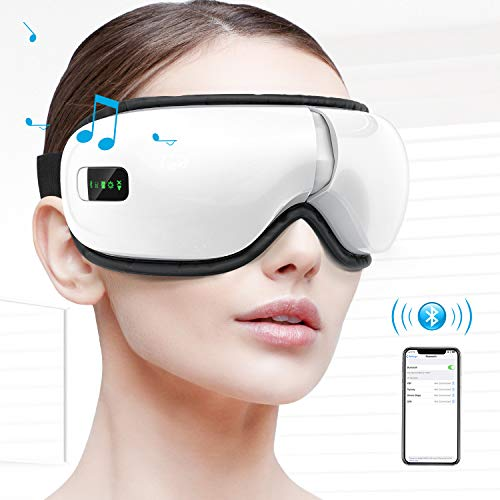 HOMIEE Eye Massager, Portable Electric Wireless Bluetooth Eye Care Massager with Air Pressure, Hot Compress, Vibration, Music for Eye Fatigue, Dry Eyes and Dark Circles, Rechargeable and 180° Foldable