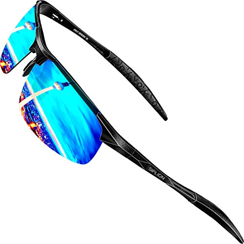 SIPLION Men's Driving Polarized Sport Sunglasses Al-Mg Metal Frame Ultra Light 8177 Blue