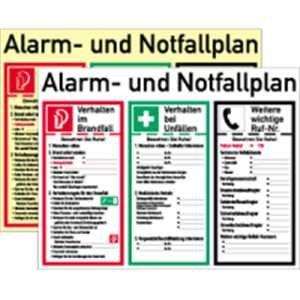 Schild Aushang Alarm  und Notfallplan weiß 48x62cm PVC: Amazon.de