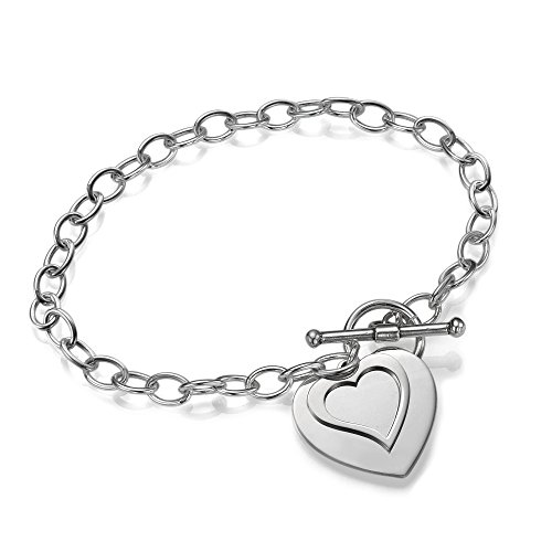 Sterling Silver Double Tag Heart Charm Bracelet - 6.5 inch!