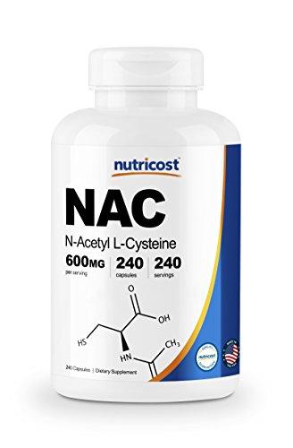 Nutricost N-Acetyl L-Cysteine (NAC) 600mg, 240 Veggie Capsules - Non-GMO, Gluten Free, Vegetable Caps (240 Caps)