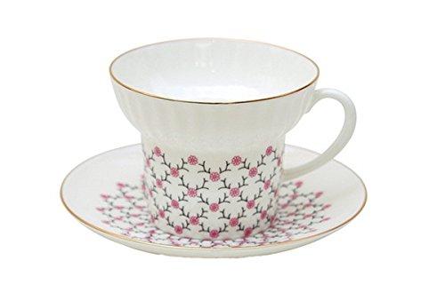 Lomonosov Bone China Porcelain Espresso Coffee Cup and Saucer Wave Pink Net 5.24 oz/155 ml ()