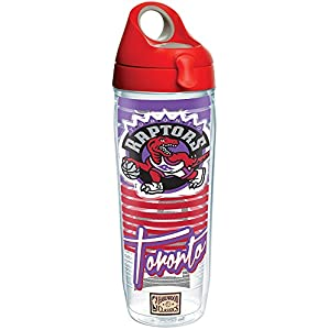 Tervis 1268945 NBA Toronto Raptors Old School Tumbler with Wrap and Red with Gray Lid 24oz Water Bottle, Clear