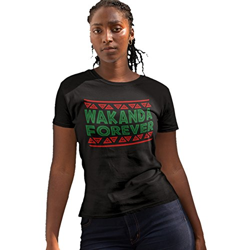 iApparel Wakanda Forever Women Black Shirt (Large)