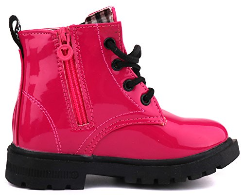 LONSOEN Boys Girls Waterproof Lace/Zip up Kids Boots, Hot Pink, KDB002 CN31 by LONSOEN (Image #3)