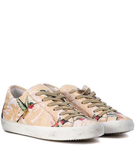 Zapatillas De Deporte De Piel De Melocotón De Aves Tropicales Modelo Philippe Para Mujer Multicolor