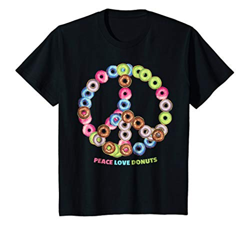 Kids Peace Love Donuts Tee for Bakers, Pastry Chef, Culinary Pros 10 Black