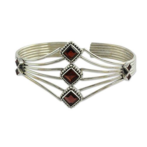 NOVICA Garnet .925 Sterling Silver Cuff Bracelet 'Glamour'