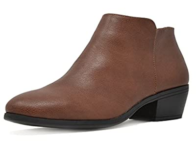 TOETOS Women's Boston-01 Brown Pu Block Heel Side Zipper Ankle Booties Size 5.5 M US