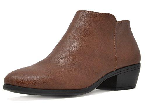 TOETOS Women's Boston-01 Brown Pu Block Heel Side Zipper Ankle Booties Size 8 M US